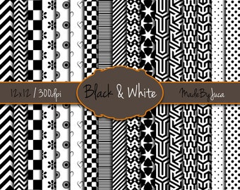"""Black & White Patterns - HD 300 DPI - 12x12"""" - 17 sheets -Scrapbooking - Digital - Instant Download - Unlimited Use"""