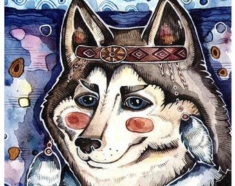 Dog Print Watercolor Art Dog Wall Decor Poster Dog Watercolor Painting Husky Art Print Husky Poster Art