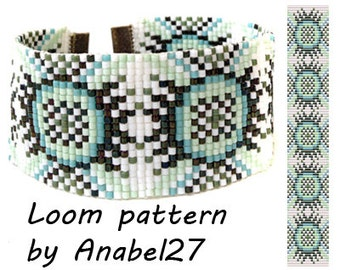 Loom bead pattern - Square stitch pattern -  ethnic style - bracelet pattern  - beaded pattern #72