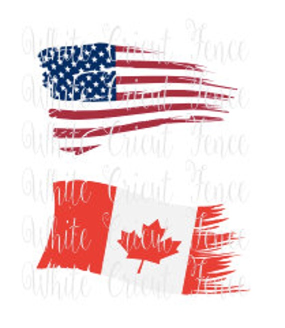 Tattered Usa Flag And Canadian Flag Digital By