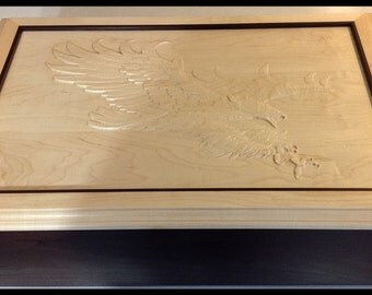 Handmade Wooden Box with Eagle Carving