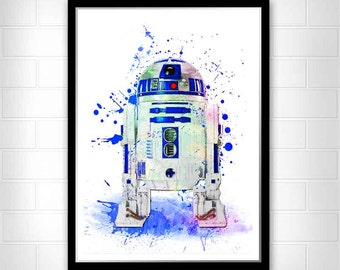 R2D2 print,  Star Wars Movie Poster, Star Wars Poster, R2D2 Star Wars 7 Art Print, Watercolor Star Wars, Watercolor Painting, R2D2 wall art