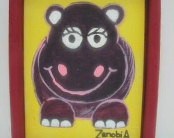 Friendly Hippo Children's Painting
