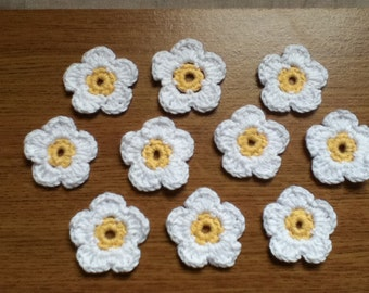 10 Handmade Crochet Daisies - 5 Petal - Yellow Centre and White Petals