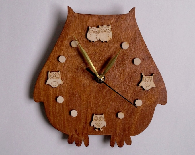 Wall Сlocks Owl Lovers- Rustic Wall Clock- Home and Living- Unique Wall Clock- quartz Movement