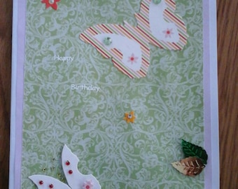 Batterflies  spring card with envelope 21x14.5cm