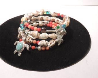 Summertime Wire Wrap Bracelet w/Larimar Sea Turtle Charm
