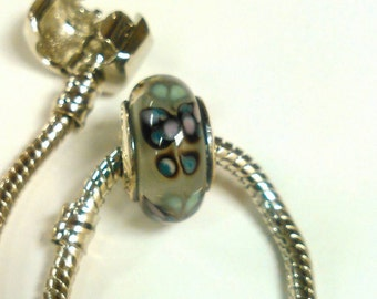 Purple Butterfly Kiss Murano Glass Bead Stamped S925 ALE for Your Pandora, Troll or Other European Style Bracelet  *On SALE NOW*