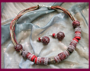 "Red and brown set of jewerly ""Lace"""