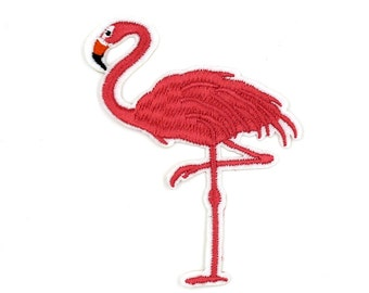 Flamingo Patch Sew On / Iron On DIY Patch Embroidered Applique 7x8.9cm - RP480