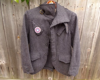 Vintage Tough Grey Wool US Army Blanket Fitted Ladies Blazer Size M Collectibles