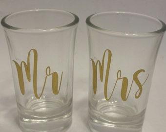 Mr and Mrs Shot Glasses Set 1.5 oz  Wedding