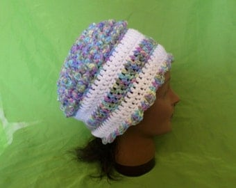 Womens Crocheted Yarn Multi Colored Hat