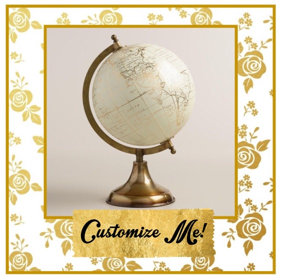 Custom Calligraphy Globe / White and Gold Calligraphy Globe / You Choose Custom Wording