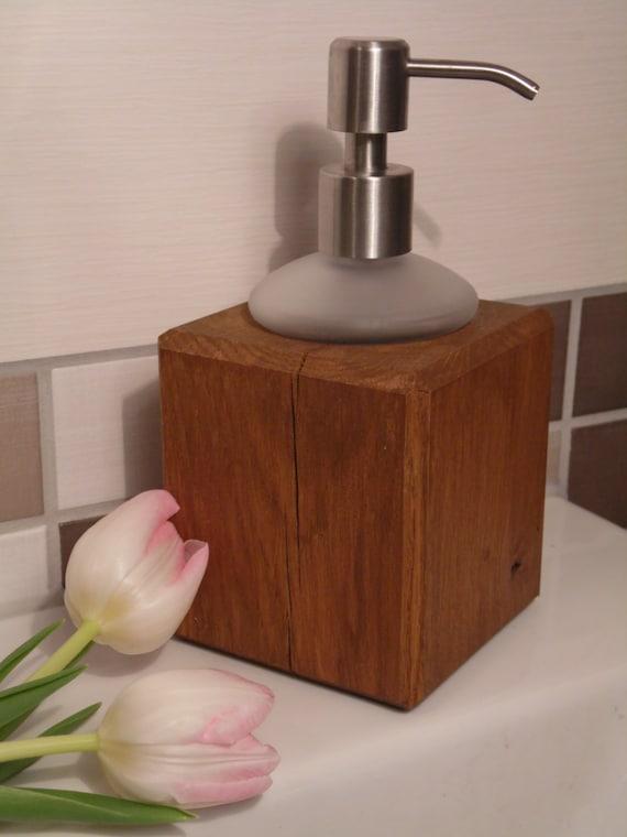Seifenspender holz eiche  Seifenspender Holz und Glas Eiche