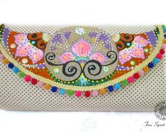 Bridesmade Clutch/Bridal Clutch/Hand Painted Leather Purse/bohemian designer vinatge shoulder handbag/boho evening bag/Gift ideas for her