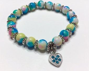 Blue Rhinestone Heart Charm Bracelet