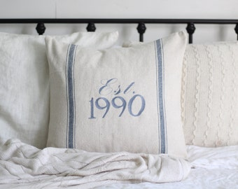 Customized Established Grain Sack Pillow Cover