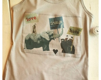 Love trumps Hate, elephant, otter, bear racer back tank