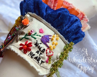 Gypsy cuff, Bohemian, Gypsy tattered, Wearable Art, Vintage inspired , Ruffled , Bracelet , Wristlet , Romantic , Textile , Hand Embroidered