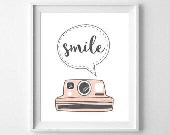 Smile - Nursery Printable Poster - Wall Art, Girl, Pink, Kid Bedroom Decor