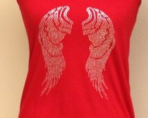 Angel Wings logo/Rhinestone wings tank/Angel tank.