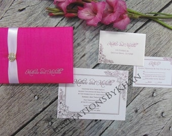 Customized Couture Silk Invitation Bi-fold Folio With Satin Ribbon & Embellishment Hot Stamp Foil Name Print