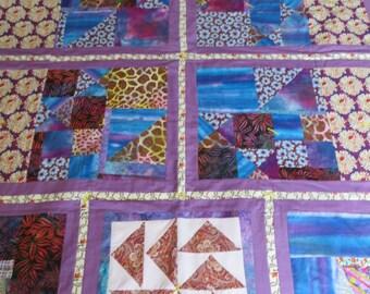 Handmade Lap Quilt: MAUVE MEANDER