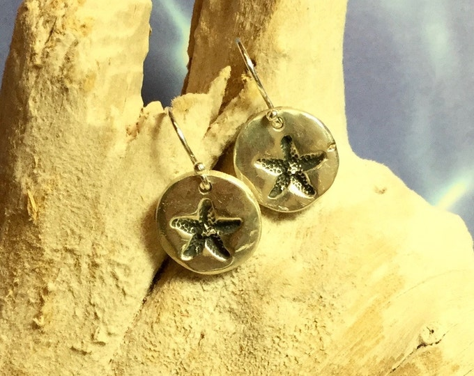 Sterling and Fine Silver Antiqued Starfish Disk Earringss