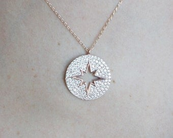 Necklaces-pole star necklace-rose gold -white zircon-north pole-925 silver -mother's day