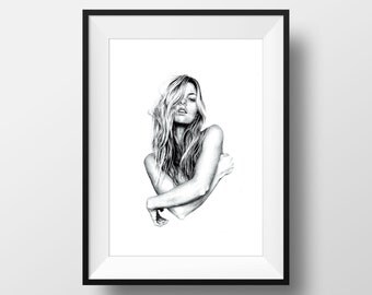 Ballpoint Pen Illustration, FINE ART PRINT, Portrait Drawing