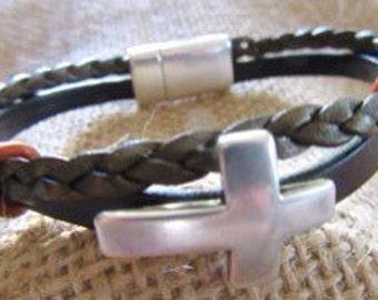 Double Strand Sideways Cross Bracelet