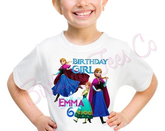 Customized Frozen Birthday Shirt Add Name & Age Frozen Princess Anna Custom Birthday Shirt