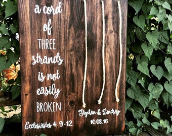 Cord of Three Strands - w/ Names of Bride & Groom - Custom Cord Colors - Wedding Sign