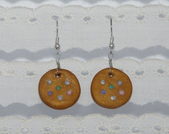 Spotty Gold Earrings - Polymer Clay
