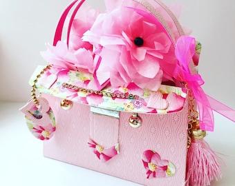 Summer Blossom Miniature 3D Handbag (with embellished flowers)