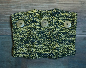 Knitted Book Pouch - Yellow and Grey with Cables