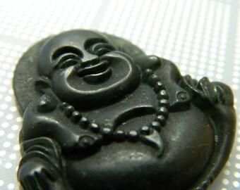 Small Carved Black Jade Buddha Pendant - Hand-carved Jadetite Buddha Amulet Pendant - Laughing Buddha Amulet