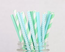Paper Straws - Pastel Mint and Baby Blue, Oceans Away Theme, Sea, Aqua, Mint, Chevron, Stripes, Birthday Parties, Baby Bridal Wedding Decor
