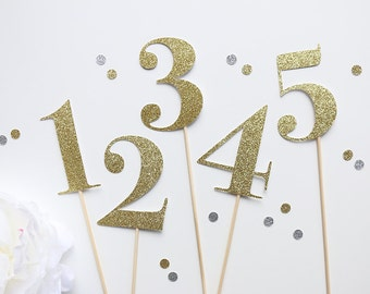 Gold Glitter Wedding Table Numbers | Wedding | Floral Arrangements | Gold or Silver Table Number Centrepiece | Special Event or Parties