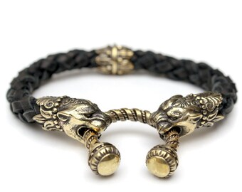 Black leather bracelet with head of panther Leather bracelet Cougar bracelet Pagan bracelet Woven bracelet Bronze bracelet Handmade bracelet