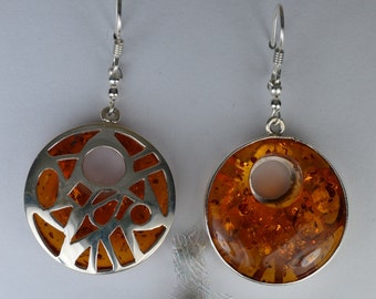 Amber Circle Cut Out Earrings