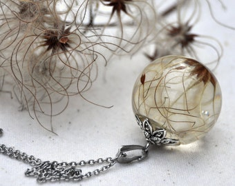 Clematis Seed Necklace, Real Flower Necklace, Eco Resin Pendant, Nature Jewellery, Resin Sphere, Australian Jewellery, Gift for Her