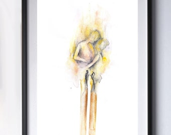 Love. Fire. Watercolor Art Print. Wall Art. Home Decor