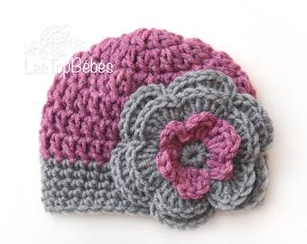 Mauve Newborn Girl Crochet Hat, Baby Girl Hat, Flower Girl Beanie, Mauve and Graphite Gray Hat, Hats for Baby Girl, Hospital Girl Hats, Hat