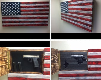 Wood American Flag with Gun Concealment
