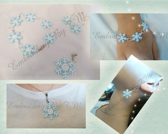 Earrings,pendant and components for bracelet lace snowflake-FSL-4x4 hoop