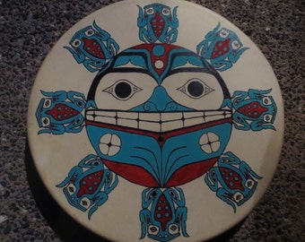 """Bear with Frogs 16"""" Hand Drum"""