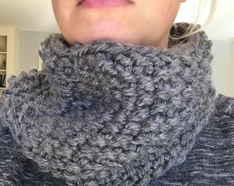 Hand knit cozy cowl in Dark Grey