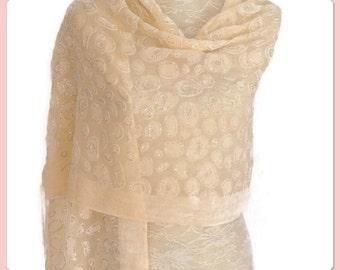 Cream Devore Silver Glitter Embellishment Design Pashmina Scarf Gift Idea